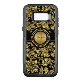Coque Samsung Galaxy S8+ Par OtterBox Commuter Noir et monogramme vintage de damassés d'or
