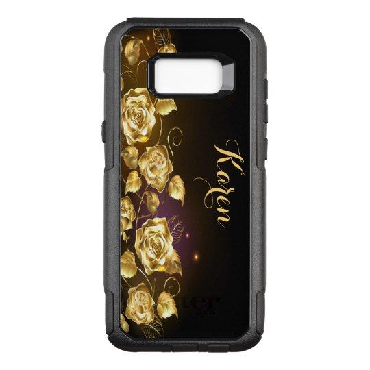 Coque Samsung Galaxy S8+ Par OtterBox Commuter Roses élégants d'or sur noir et le pourpre