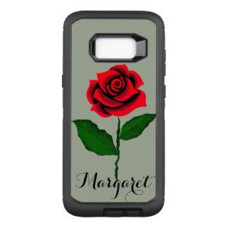 Coque Samsung Galaxy S8+ Par OtterBox Defender beauté de monogramme de rose rouge en vertu de