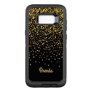 Coque Samsung Galaxy S8+ Par OtterBox Defender Monogramme noir de confettis d'or
