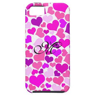 Coque Tough iPhone 5 Monogramme rose Girly pourpre de coeurs de