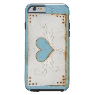 Coque Tough iPhone 6 Cas rouillé de téléphone de coeur en métal