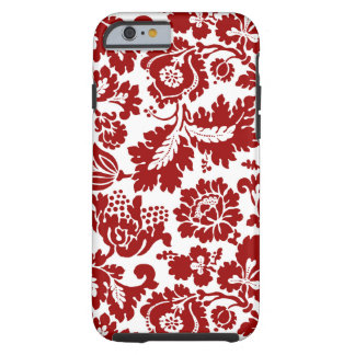 Coque Tough iPhone 6 Damassé florale de William Morris, rouge-foncé et