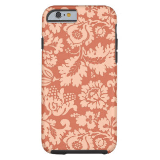 Coque Tough iPhone 6 Damassé, pêche et corail floraux de William Morris
