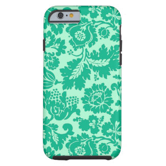 Coque Tough iPhone 6 Damassé, turquoise et Aqua floraux de William