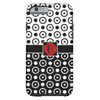 Coque Tough iPhone 6 Demi de monogramme à moitié blanc noir élégant de