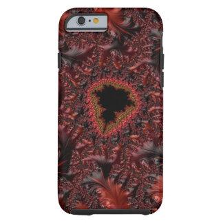 Coque Tough iPhone 6 Fractale Goth noir rouge fait varier le pas fleuri
