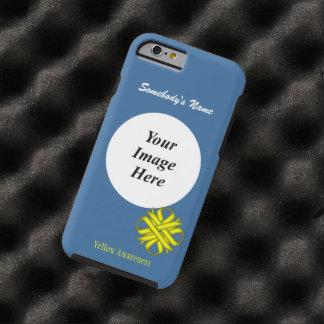 Coque Tough iPhone 6 Modèle jaune de ruban de trèfle par Kenneth