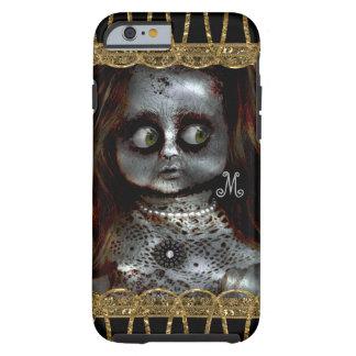 Coque Tough iPhone 6 Monogramme effrayant de Goth de poupée effrayée