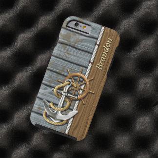 Coque Tough iPhone 6 Motif en bois de corde d'ancre nautique faite sur
