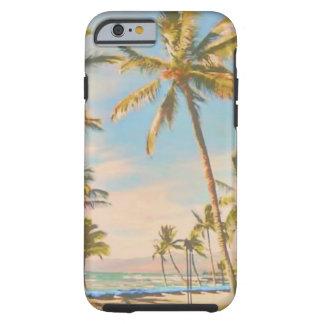 Coque Tough iPhone 6 Plage hawaïenne vintage de PixDezines
