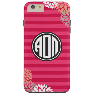 Coque Tough iPhone 6 Plus Alpha motif de rayure de monogramme d'Omicron pi |