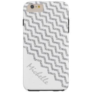 Coque Tough iPhone 6 Plus Blanc argenté de Chevron personnalisé