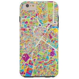 Coque Tough iPhone 6 Plus Carte au néon de Houston, le Texas |