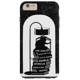 Coque Tough iPhone 6 Plus Chat noir lisant des jeux de Shakespeare