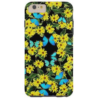 Coque Tough iPhone 6 Plus Le papillon Coneflower de Morpho fleurit la caisse