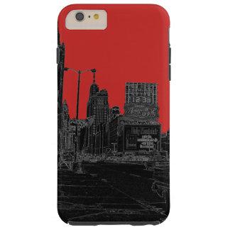 Coque Tough iPhone 6 Plus Noir rougeoyant de bords des années 1960 d'avenue