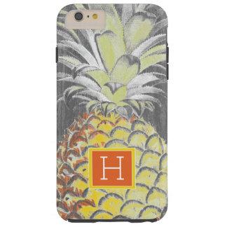 Coque Tough iPhone 6 Plus Pinneapple jaune tropical sur le gris