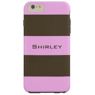 Coque Tough iPhone 6 Plus Rose et rayures larges brun chocolat par STaylor