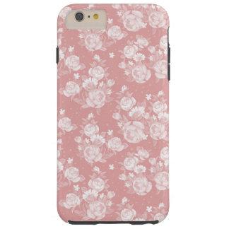 Coque Tough iPhone 6 Plus Rougissent floraux élégants vintages de boho blanc