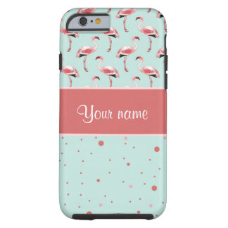 Coque Tough iPhone 6 Pois rose personnalisé de flamants