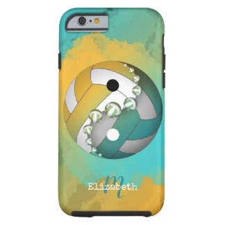 Coque Tough iPhone 6 volleyball de yinyang d'or de turquoise son nom