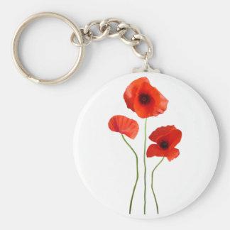 coquelicot -poppy porte-clé rond