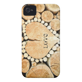 Coques Case-Mate iPhone 4 Amour, coeur, romance, mosaïque en bois