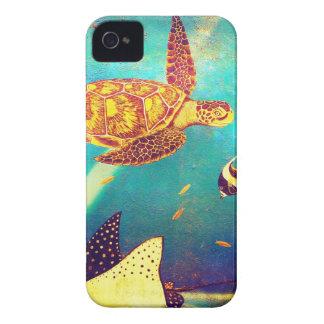 Coques Case-Mate iPhone 4 Peinture colorée de tortue de mer d'océan bleu