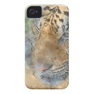 Coques Case-Mate iPhone 4 Tigre étroit dans l'aquarelle
