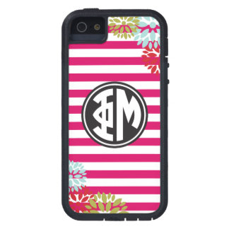 Coques Case-Mate iPhone 5 Motif de rayure de monogramme de la MU | de phi