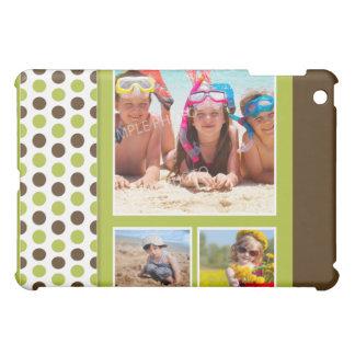 Coques iPad Mini Coutume de collage de photo de Polkadot (chaux)