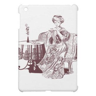 Coques iPad Mini la dame boit du thé