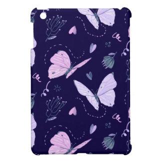 Coques iPad Mini Papillons pourpres peints sur la PA d'arrière -