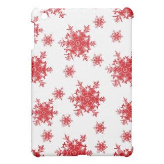Coques iPad Mini Rouge sur la conception blanche de flocon de neige