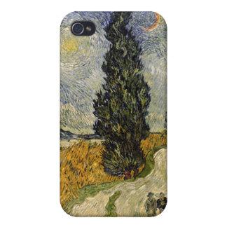 Coques iPhone 4/4S Route de Vincent van Gogh | avec des cyprès, 1890