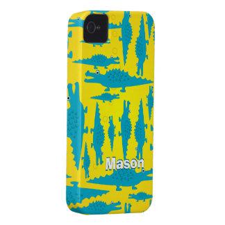 Coques iPhone 4 Aqua coloré mignon et motif jaune d'alligator