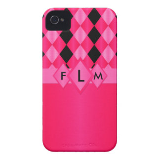 Coques iPhone 4 Case-Mate Cas du Monogramme-iPhone 4/4s de roses indien de