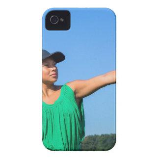 Coques iPhone 4 Case-Mate Femme avec de gant et de casquette le base-ball de