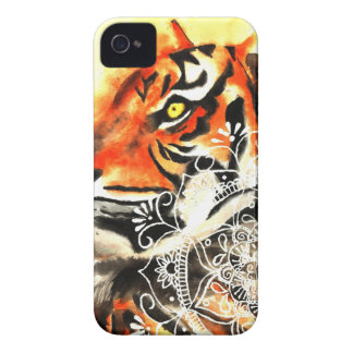 Coques iPhone 4 Case-Mate Mandala de tigre d'aquarelle
