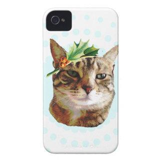 Coques iPhone 4 Case-Mate Noël gai de chat tigré de houx