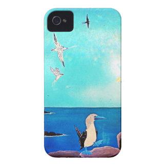 Coques iPhone 4 Case-Mate Peinture bleue d'oiseaux de vol d'océan