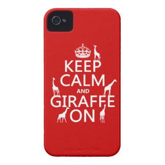 Coques iPhone 4 Gardez le calme et la girafe sur (les couleurs de