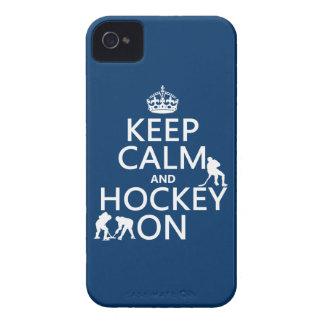 Coques iPhone 4 Gardez le calme et l'hockey sur (dans toute
