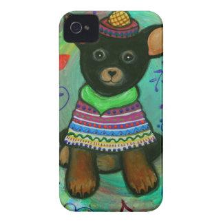 Coques iPhone 4 Noir mexicain d'amant d'animal familier de chiwawa