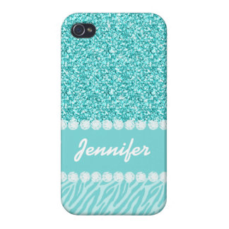 Coques iPhone 4 Parties scintillantes Girly et turquoises, rayures
