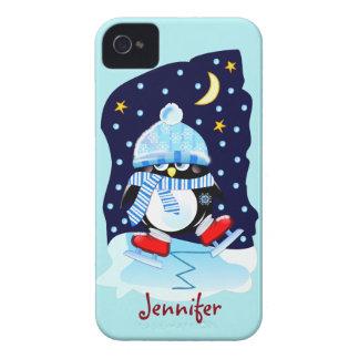 Coques iPhone 4 Pingouin de patinage mignon de bébé + nom fait sur