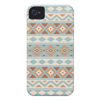 Coques iPhone 4 Terres cuites crèmes bleues aztèques de Ptn IIIb