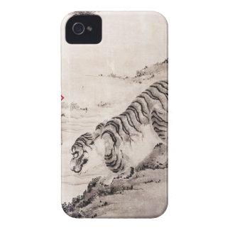 COQUES iPhone 4 TIGRE JAPONAIS SUR LE ROUGE.  L'ARGENT CONTINUENT