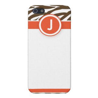 Coques iPhone 5 4 oranges/chocolats géniaux de zèbre